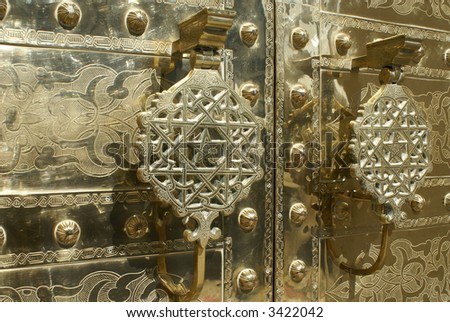 luxurious golden door detail of a morocco mosque - stock photo