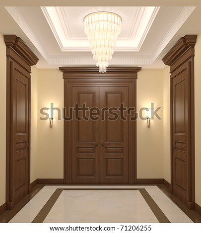 Luxurious hall interior. 3d render. - stock photo