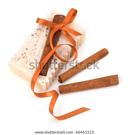 Luxurious handmade cinnamon soap isolated on white background - stock photo