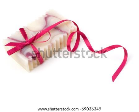 Luxurious handmade lavender soap isolated on white background - stock photo