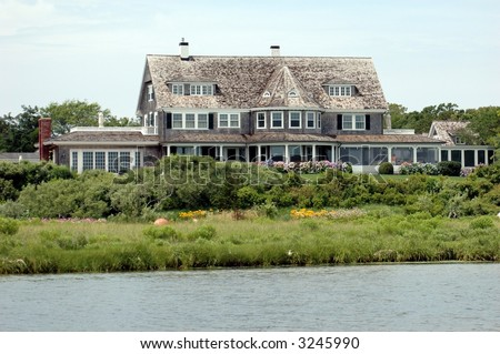 Luxurious home in summer on the island of Martha's Vineyard - stock photo