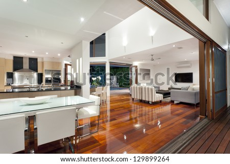 Luxurious Home Interior Large Sliding Doors Stock Photo (Download Now)  129899264   Shutterstock