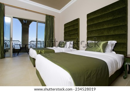 Luxurious Hotel Bedroom With Balconies, 5 Stars Luxury Hotel Bedroom