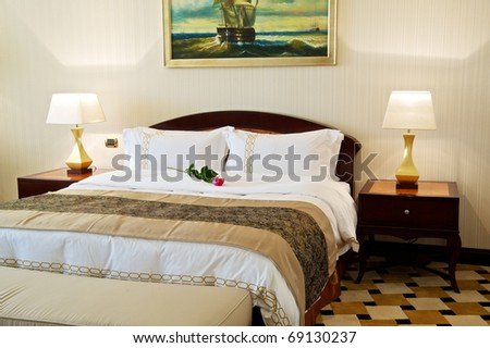 Luxurious hotel room interior with king-size bed