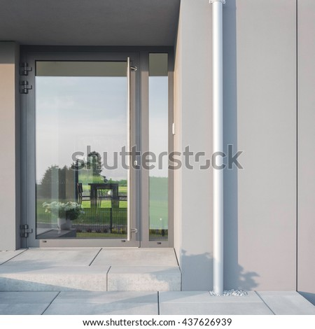 Luxurious house with new big glass front doors