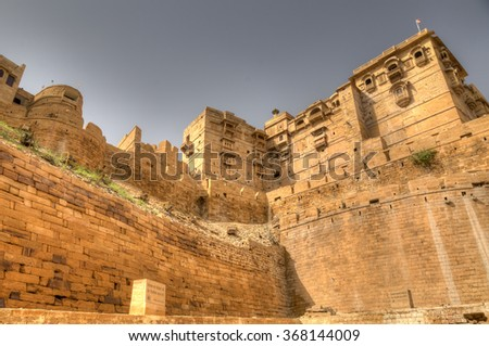 Luxurious houses with balcony on main Jaisalmer fort square, India - stock photo