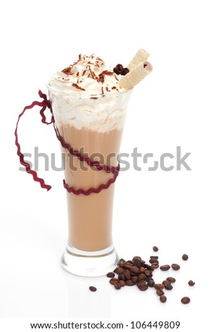 Luxurious iced coffee with coffee beans isolated on white background. Summer refreshment. - stock photo