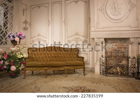 Luxurious interior in the vintage style - stock photo