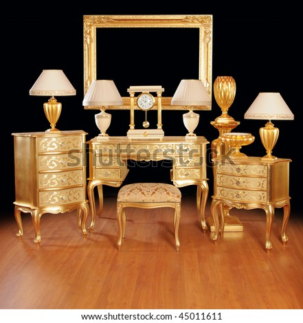 Luxurious interior items. Tables, cabinets, lamps, ottoman