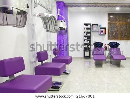 luxurious interior of a beauty salon - stock photo