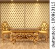 luxurious interior with leather walls and classical furniture of gold. - stock vector