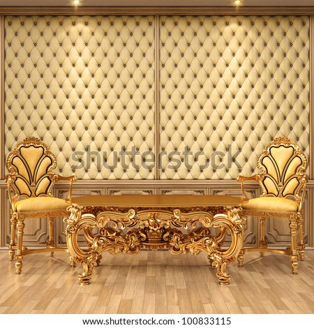 luxurious interior with leather walls and classical furniture of gold. - stock photo