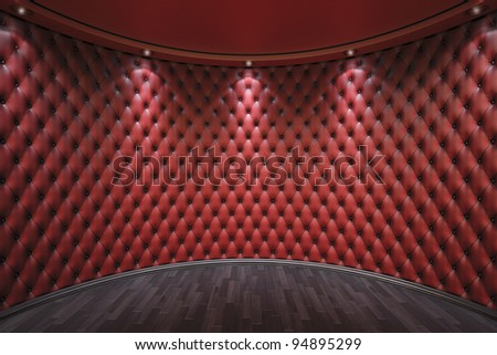 luxurious interior with leather walls and wooden parquet. - stock photo