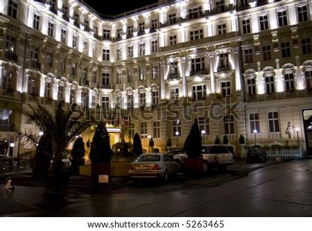 Luxurious international hotel at night - stock photo