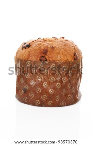 Luxurious italian panettone raisin cake isolated on white background. Italian sweet food.