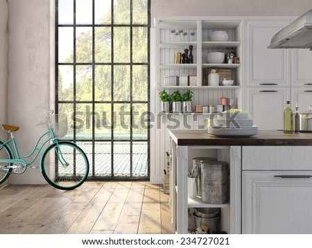 Luxurious kitchen with stainless steel appliances in a apartment - stock photo