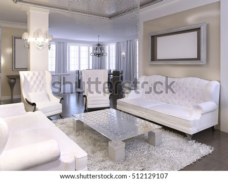 Luxurious Living Room Design With White Chairs And Sofa. Silver Hanging  Ceiling With Chandelier And