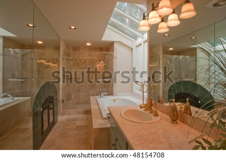 Luxurious master bathroom with mirrored fireplace wall