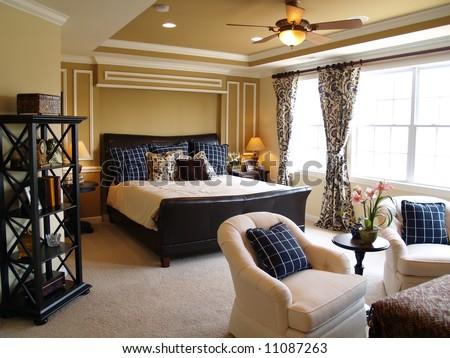 Luxurious master bedroom - stock photo