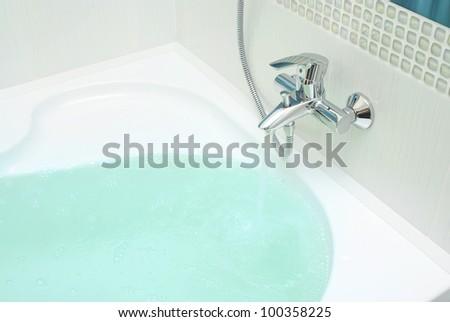 luxurious modern design of bathroom - stock photo