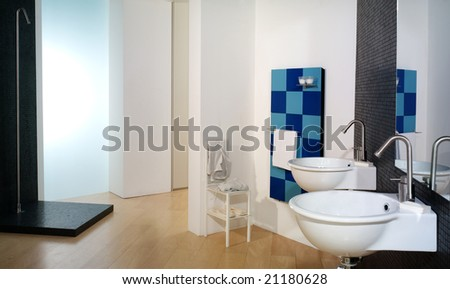 luxurious modern white bathroom - stock photo
