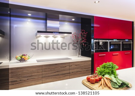 Luxurious new kitchen with modern appliances - stock photo