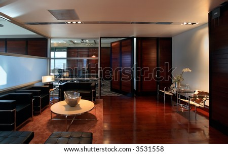 Luxurious office interior with designer furniture - stock photo