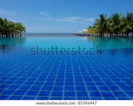 Luxurious open air swimming pool - stock photo