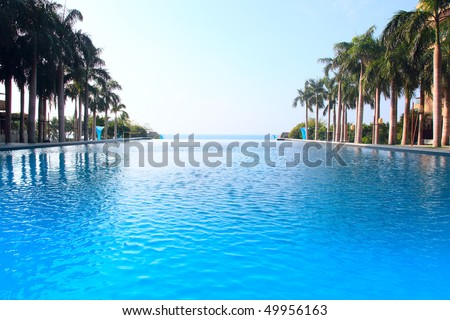 Luxurious open air swimming pool at resort