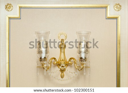 Luxurious Ornate Gold Wall Chandelier Abstract.