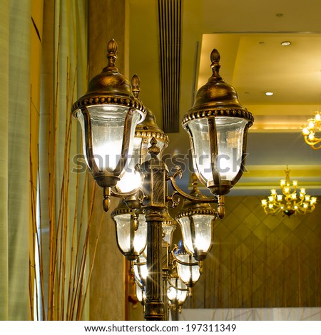 Luxurious Ornate Gold Wall Chandelier Abstract - stock photo