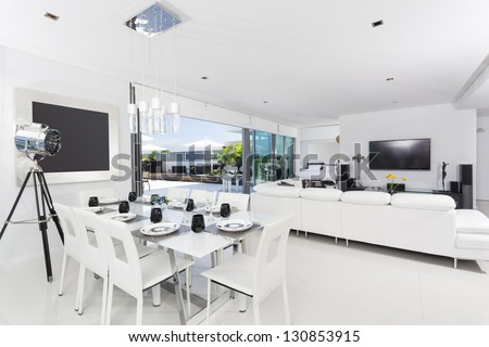 Luxurious penthouse interior - stock photo