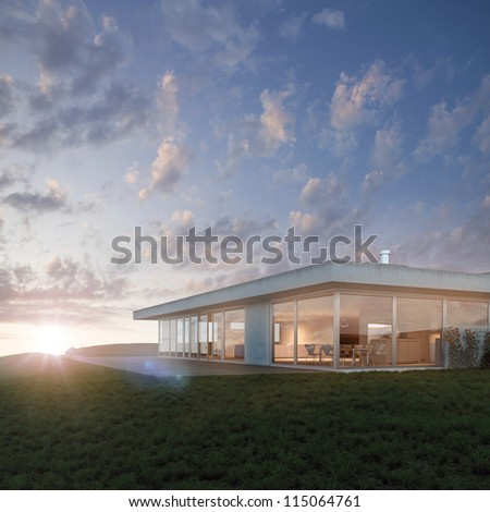 Luxurious property on the hillside 3D - stock photo
