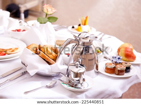 Luxurious Room Service. Breakfast in luxury hotel - stock photo
