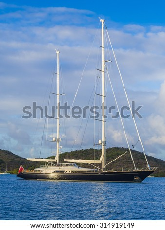 Luxurious sailing yacht in the British Virgin Islands - stock photo