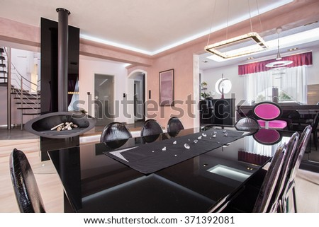 Luxurious shiny dining room in modern posh house