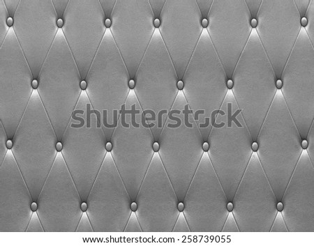 Luxurious silver leather seat upholstery use for background - stock photo