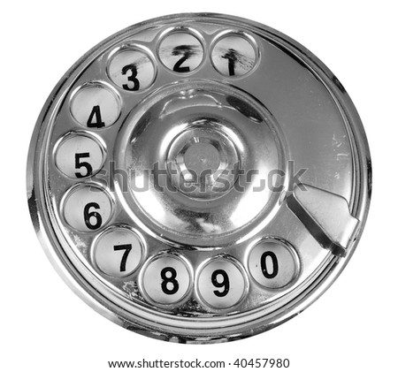 Luxurious silver vintage telephone dial isolated - stock photo