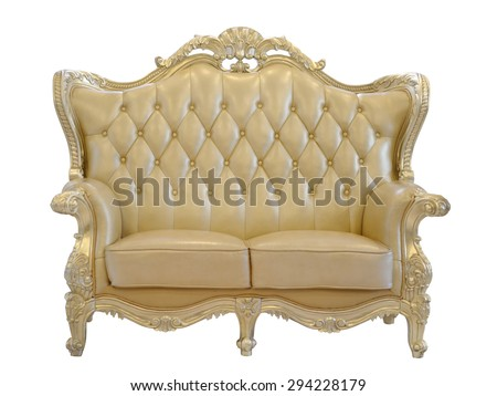 Luxurious sofa isolated on white background with clipping path