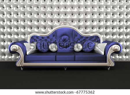 Luxurious sofa with cushion on buttoned background in interior - stock photo
