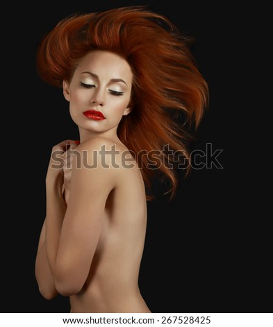 Luxurious Sophisticated Redhead Woman. Aspiration - stock photo