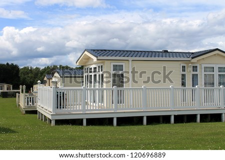 Luxurious static caravavans in holiday park, Cayton Bay, Scarborough, England. - stock photo