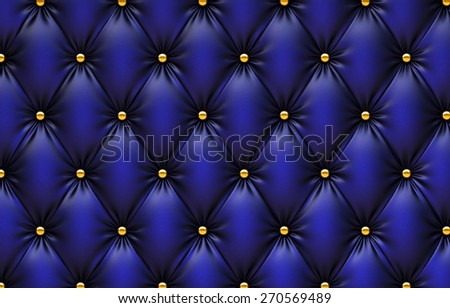 luxurious texture of blue leather upholstery. - stock photo