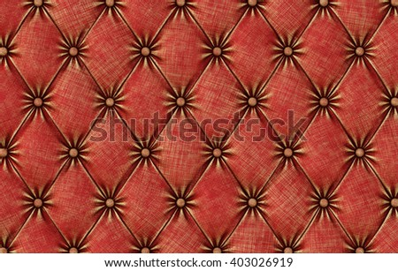 luxurious texture of red leather upholstery. 3D illustration. - stock photo