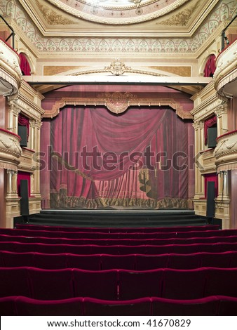 Luxurious theater hall in classic baroque style. - stock photo