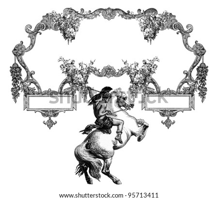 "Luxurious Victorian frame, after a engraving ""A bull fight"" edited by The Graphic - London, circa 1878."