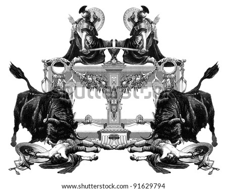Luxurious Victorian frame with gladiator and bull.