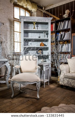 Luxurious vintage interior of sitting-room - stock photo