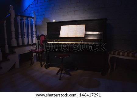 Luxurious vintage interior with piano  - stock photo