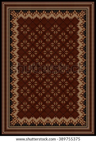 luxurious vintage oriental rug with original pattern in maroon and brown shades - stock photo